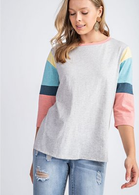 Heather Grey Colorblock Sleeve Tee