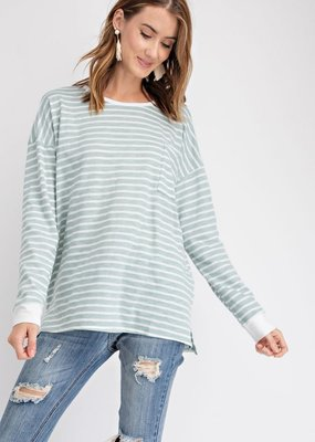 Faded Sage Stripe Slub Knit Top