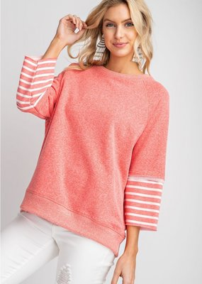 Coral Striped Sleeve Sweatshirt