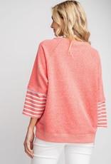 Coral Striped Sleeve Sweatshirt