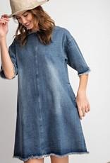 Washed Denim Frayed Dress