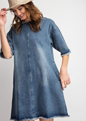 Washed Denim Frayed Dress