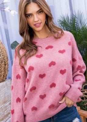 Dusty Rose Long Sleeve Heart Sweater