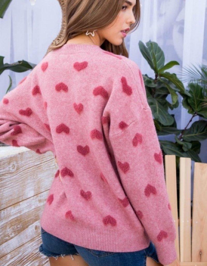 Dusty Rose Long Sleeve Heart Sweater