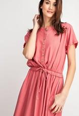 Coral Linen Midi Dress