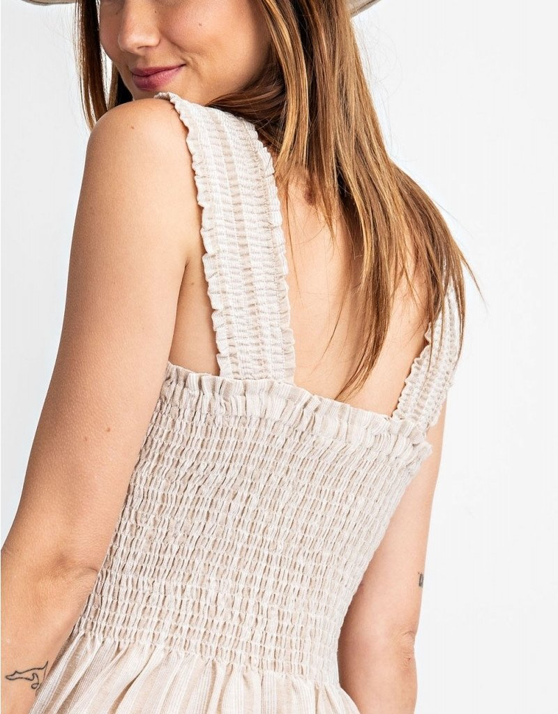 Khaki Stripe Smocked Dress