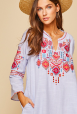 Blue Embroidered Pin Stripe Dress
