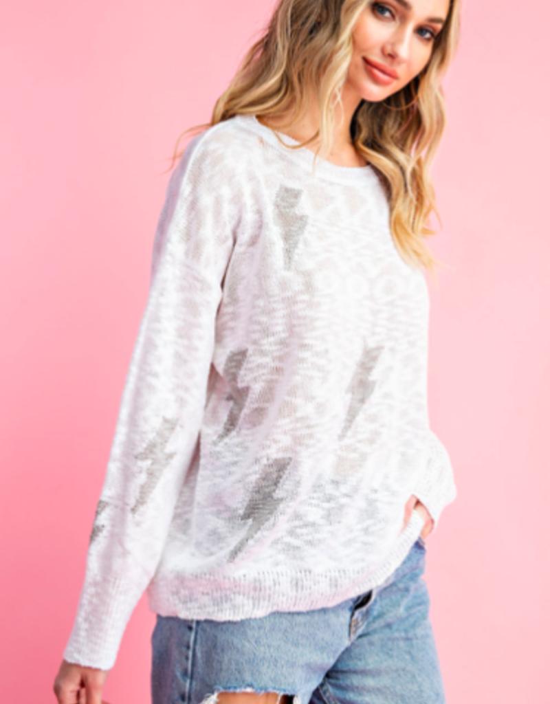 White Bolt Sweater