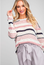 Mauve and Navy Stripe Sweater