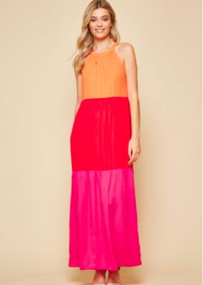 Pink/Red/Orange Halter Maxi