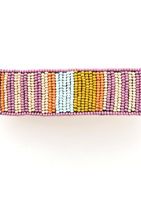 Lilac and Coral Beaded Hair Barrette