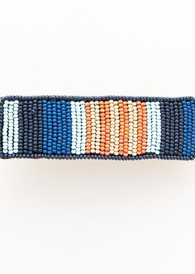 Lapis and Coral Beaded Hair Barrette