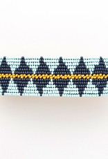 Blue/Navy/Yellow Beaded Hair Barrette