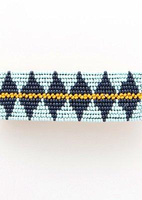 Blue/Navy/Yellow Beaded Hair Barrette