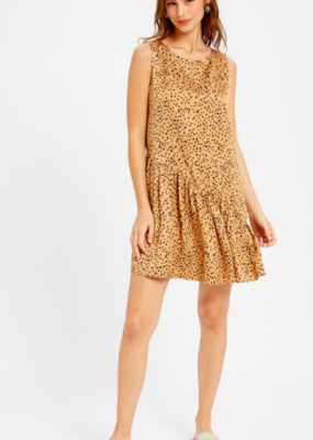 Mustard Tiered Cheetah Dress