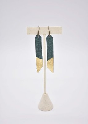 Leafed Bar Earring Teal/Gold