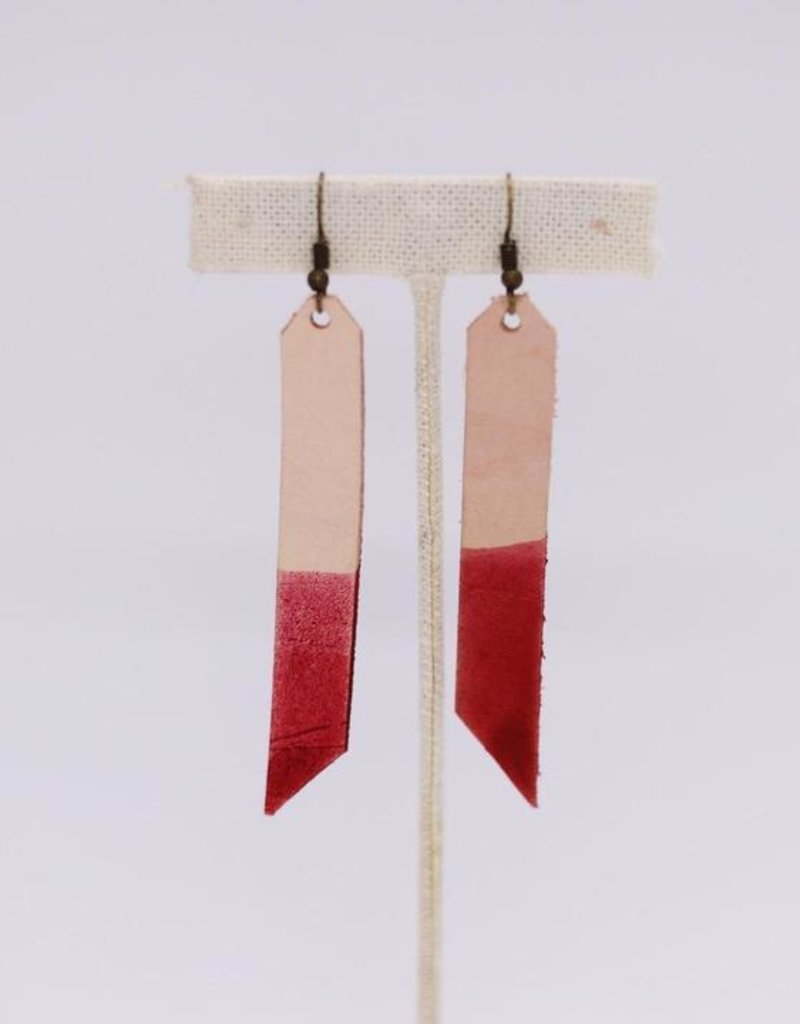 Dip Leather Bar Earring Coral