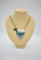 Dip Leather Stacked Arrow Necklace Malachite