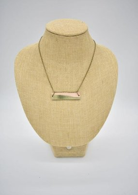 Dip Leather Bar Necklace Peridot