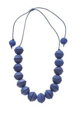 Lapis Leather Bead Adjustable Necklace