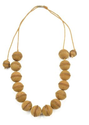 Mustard Leather Adjustable Bead Necklace