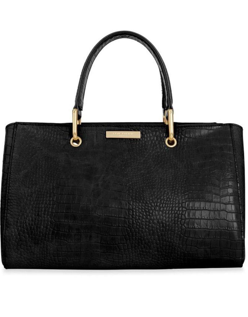 Celine Faux Croc Handbag Black