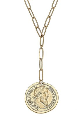 Avery Coin Y Necklace Gold