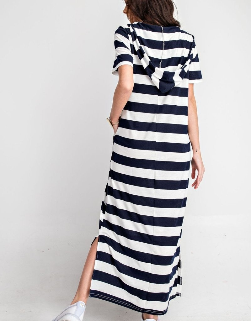 Navy Rugby Stripe Hooded Dress