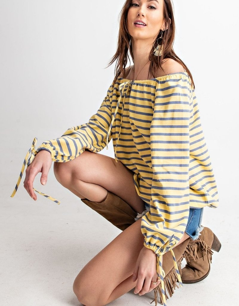 Yellow and Blue Stripe Off Shoulder Long Sleeve Top