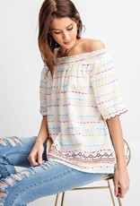 White Embroidered Off Shoulder Top