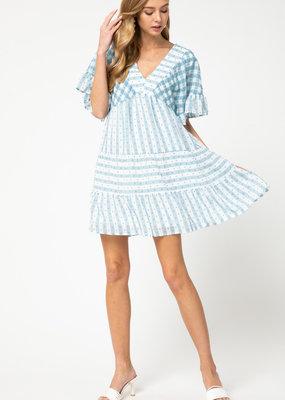Blue + White Stripe Dot Dress