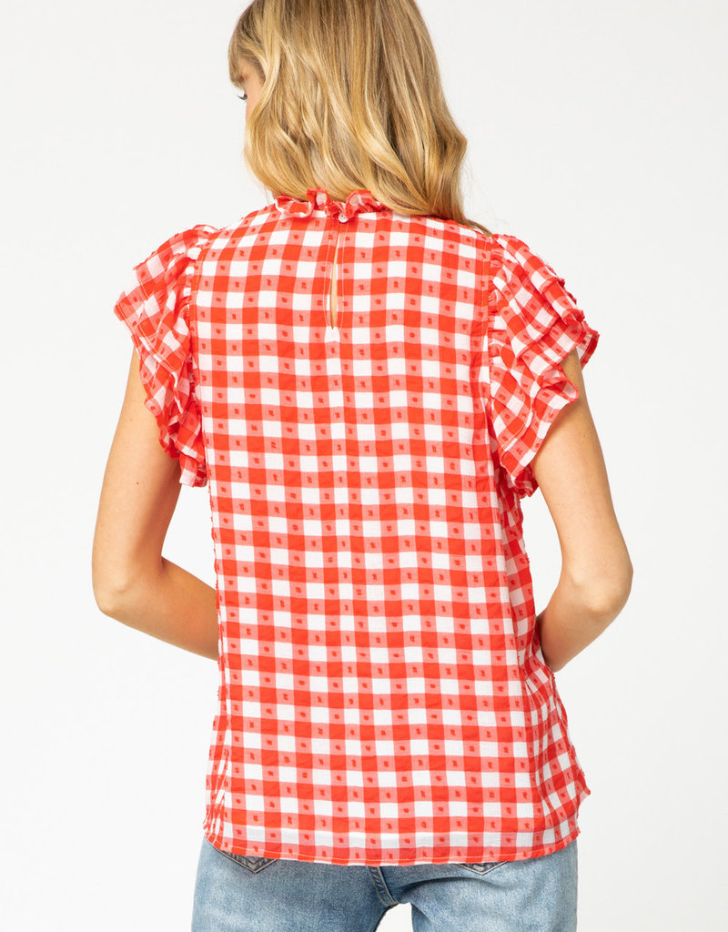 Red Gingham Ruffle Neck Top