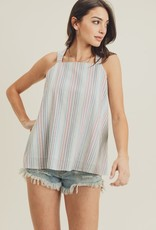 Rainbow Stripe Halter Neck Tank