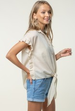 Taupe Ruffle Side Button Down Shirt