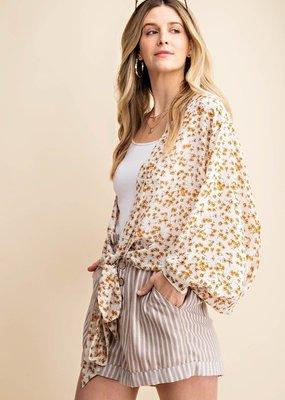 White Floral Tie Front Kimono