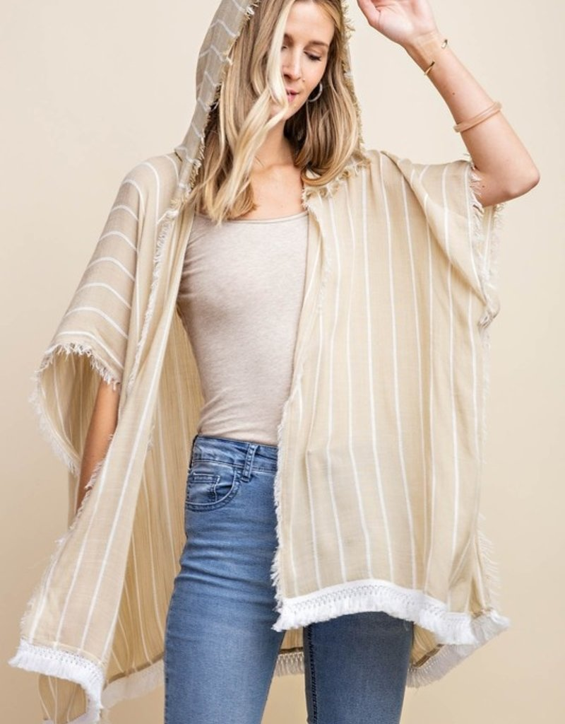 Taupe + White Stripe Hooded Kimono