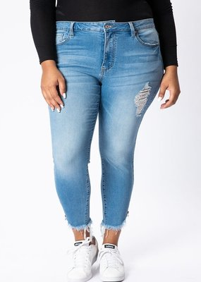 Curvy Lightwash High Rise Ankle Skinny