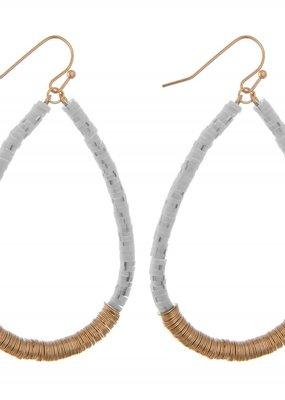Gray Spacer Clay Beaded Earrings