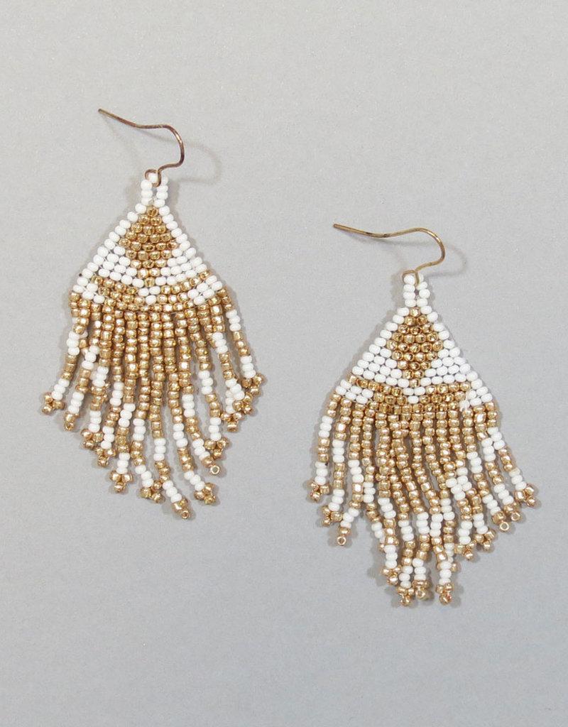 White Short Boho Beaded Earrings