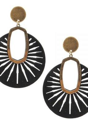 Black Round Wood Earrings