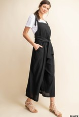 Black Cotton Overall Jumpsuit