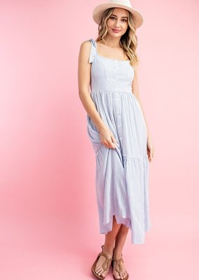 Pinstripe Button Down Maxi Dress