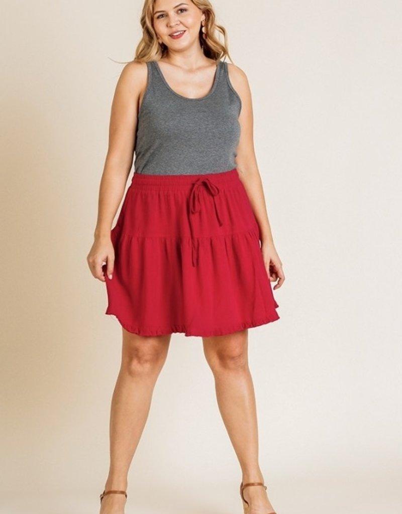 Red Linen Frayed Mini Skirt