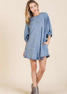 Heathered Blue Puff Sleeve Dress