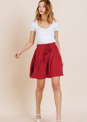 Red Linen Frayed Skirt