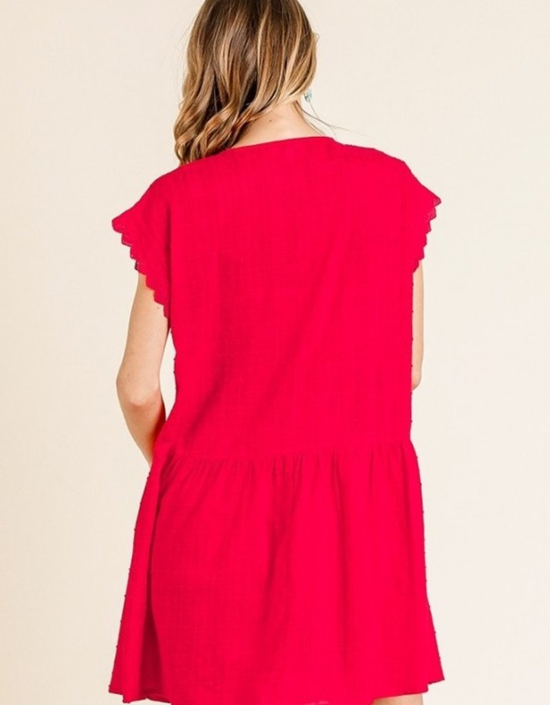 Red Eyelet Dot Tiered Dress