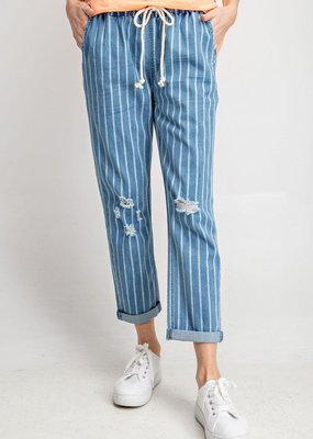 Pinstripe Denim Pants