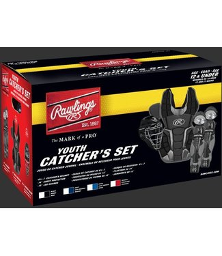 "RCSY Renegade Series Catcher's Sets - Ages 12 and Under - CH: 6 1/2 - 7 CP: 14"" LG: 13"" Scarlet/Silver"