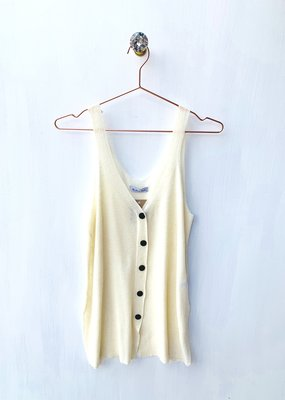 staccato White S/less sweater with button front