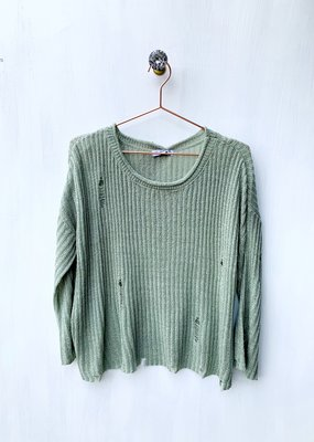 POL Olive Distressed Bell Sleeve Sweater